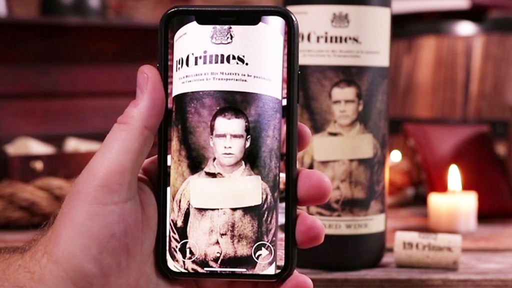 19 Crimes augmented Reality wine label design