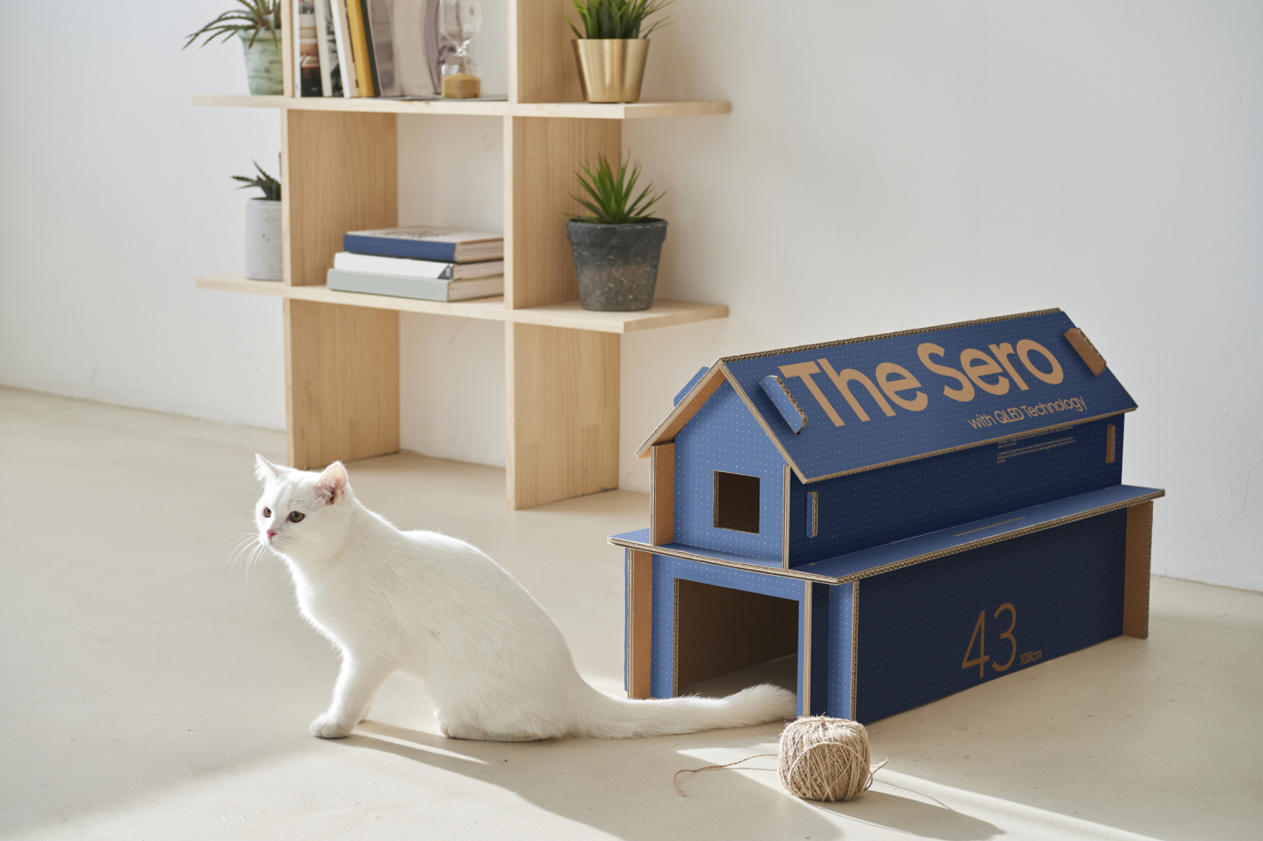 Ecommerce Packaging converts into cat house from Samsung