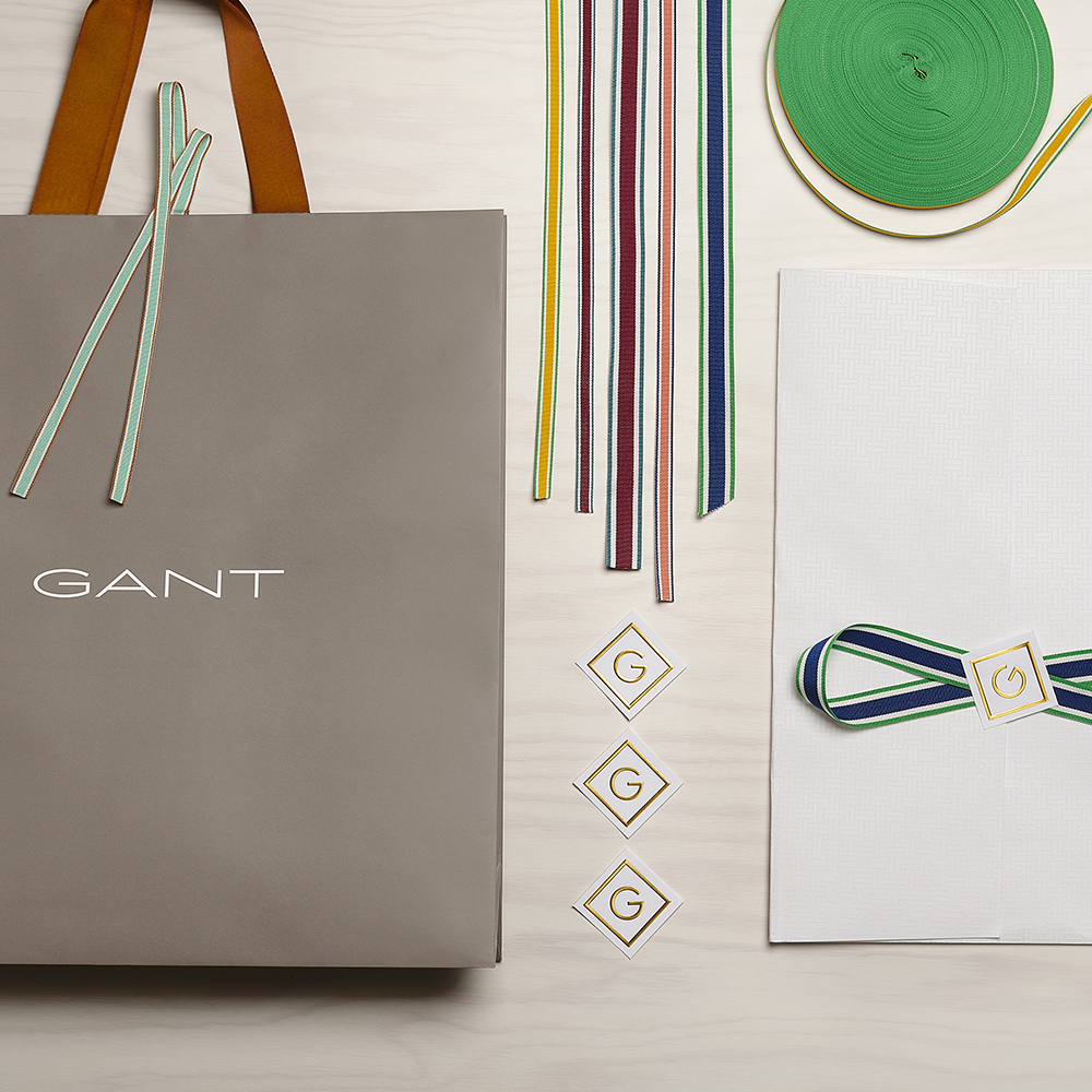 Gant Luxury Retail Packaging Design for shopping bag and colored ribbons and branded labels