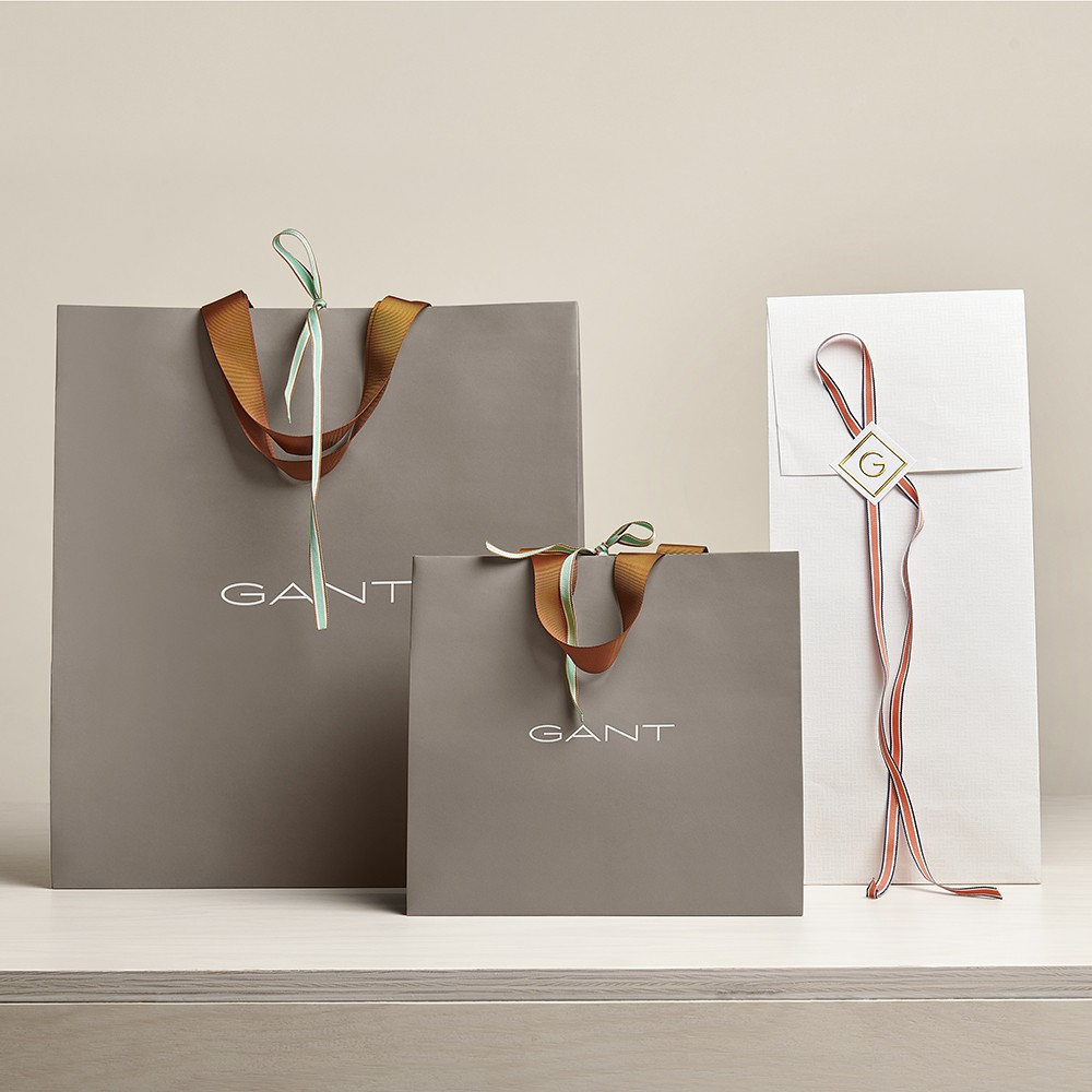 white and brown Small medium and large paper retail shopping bags for Gant